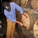 Ruben mounting our barrel head on the wall